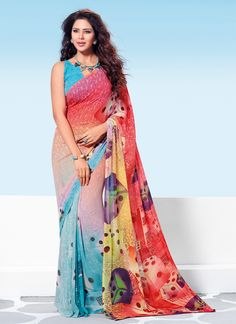 Sensible colors and excellent designs and romantic moods are reflected with an alluring style. We unfurl our the intricacy and exclusivity of our creations highlighted in this lovely multi colour geor...