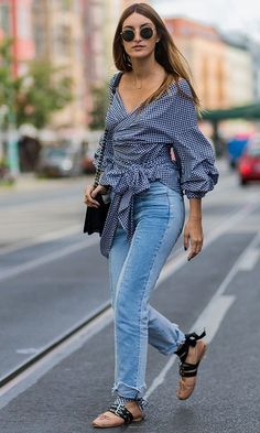 9 Denim Trends You Need to Know This Fall - Jeans on Jeans on Jeans! Denim Fashion, Love Fashion, Girl Fashion, Autumn Fashion, Fashion Outfits, Womens Fashion, Fashion Trends, Spring Fashion, Tie Up Flats