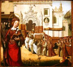 Auta Altapiece - Arrival of the relics of St. Auta at Madre de Deus Monastery - Lisbon Workshop - ca. 1522 - oil on oak. Wikimedia Commons, 16th Century, Renaissance, Lisbon, Portuguese, Workshop, Painting, Oil, Dress