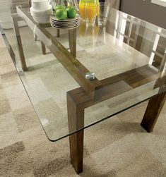 Shop Furniture of America Femm Contemporary Oak Dining Table - On Sale - Overstock - 17761813 Glass Kitchen Tables, Dinning Table Design, Wooden Dining Table Designs, Glass Dining Room Table, Wooden Dining Tables, Glass Dining Table Rectangular, Dining Set, Glass Tables, Contemporary Dining Table