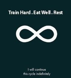 Train hard. Eat well. Rest.  I will do continue this cycle indefinitely.