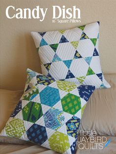 Candy Dish Pillow made with the Hex N More Ruler by Jaybird. WIN this ruler on the Moda... the Cutting Table Blog.