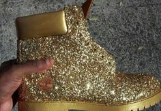 glitter timberland boots, dope, fashion, style, gold, urban
