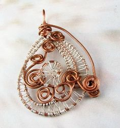 Wire wrapped pendant, copper, fine silver, Under the Milky Way | bohowirewrapped - Jewelry on ArtFire