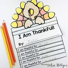"Thankful Activities for Kindergarten {Plus a FREEBIE!} | You're going to love using this great download with your Kinder classroom or homeschool students. Click through to see the writing activities, turkey flip book, craft, ""I am thankful"" book, ""We are thankful"" class book, and crown. Plus there's a FREE download. Great to use during November or the week before fall break. Grab it now!"