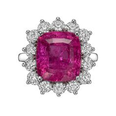 Estate Collection 6.99 Carat Rubellite & Diamond Cluster Ring