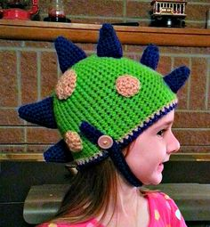 RAWR! Crocheted Spiky Dino hat by KaleidoscopeArtGifts