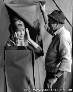 Director Gene Nelson talks to Barbara during a scene inside Maj. I Dream Of Jeannie, Gene Nelson, Columbia, Touched By An Angel, Genie In A Bottle, Barbara Eden, Portrait Pictures, Portraits, Tv Land