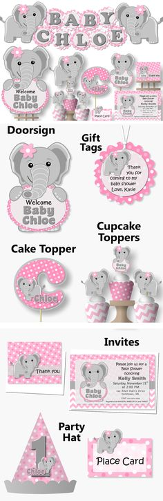 Pink Elephant Baby Shower or Birthday Party Decorations- Invitation, Favor, Banner, Cake Topper #bcpaperdesigns