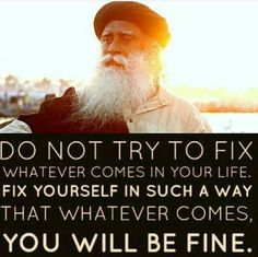 Fix yourself in such a way that whatever comes, you will be fine.   ~ Sadhguru