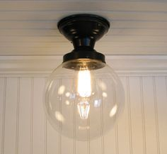want for laundry room and downstairs Biddeford I Large Clear SEMI FLUSH Ceiling Light by LampGoods, $99.00