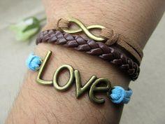 Bronze Infinity Love Cuff Bracelet  Brown by DavidBracelets, $4.50