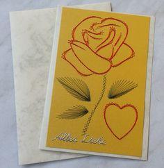 Fadengrafik-Doppelkarte Heart & Flowers I Love You von Rene´s Fadengrafiken auf DaWanda.com