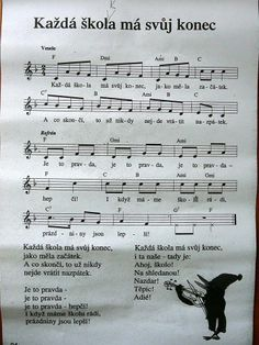 konec školního roku Kids Songs, Music Notes, Sheet Music, Kindergarten, Singing, Preschool, Classroom, Education, Summer