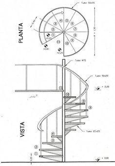 detalles-constructivos/escaleras/escalera-caracol-planta-y-vista #Moderno Staircase Outdoor, Spiral Staircase, Staircase Design, Staircases, Stair Plan, Security Gates, Bathroom Floor Plans, Interior Stairs, Shoe Cabinet