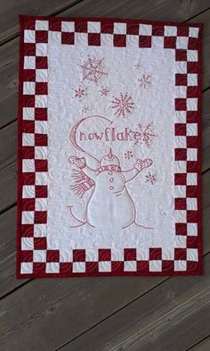 S is for Snowman, Redwork quiltingboard.com