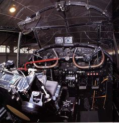 Picture showing the unusual dual-stick controls of the Avro Lancaster Bomber City of Lincoln. The City of Lincoln is the only airworthy Lancaster left in Britain.