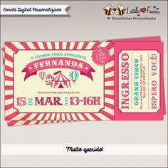 Convite Festa Circo Ingresso Menina