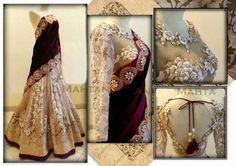 Designer cream and velvet pallu lehenga