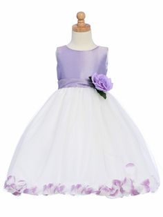 Lilac Flower Girl Dress - Shantung Bodice w/ Tulle Skirt