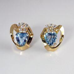 Aquamarine Diamond Earrings Aquamarine Earrings 14K 1940s by SalonUber