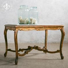 Beautiful Tall Vintage Coffee Table in Aged Gilt Finish with White Marble Top #thebellacottage #shabbychic #eloquence