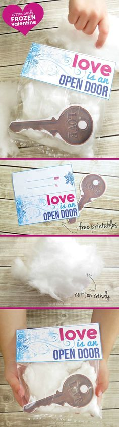 Love is an Open Door Valentine. A free Frozen Valentine printable