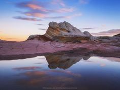 Colorful Morning - Earlier this year I had a chance to join a friend and visit one of my favorite locations in the southwest. After a beautiful sunset and a chilly evening. I awoke before sunrise to get out onto the rock formations and find a few compositions. I typically like to find complex compositions with more unique angles, but when I saw this pool and this formation reflecting in it I figured I would go for something a little more straight forward. The few clouds in the sky just…