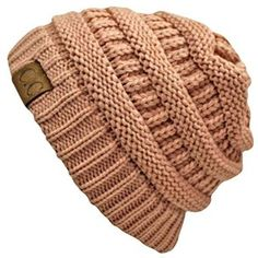 Light Rose Pink Thick Slouchy Knit Oversized Beanie Cap Hat at Amazon Women's Clothing store: Skull Caps