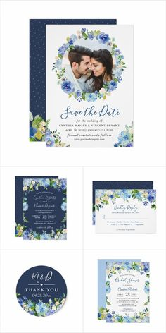 A Blue Hydrangeas Watercolor Floral Invitation Suite, with items from Invitations to RSVP card, Thank You Card, Save the Date Card, Information Card and more. Mason Jar Wedding Invitations, Spring Wedding Invitations, Watercolor Wedding Invitations, Floral Invitation, Wedding Invitation Templates, Invitation Suite, Bridal Shower Invitations, Invites, Blue Hydrangea