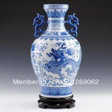 Jarrones de porcelana china azul y blanco porcelana Binaural florero dragón chino antiguo jarrón de cerámica(China (Mainland))