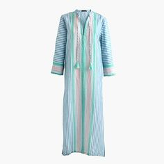 J.Crew National Stripes Day: women's linen caftan in vintage stripe.