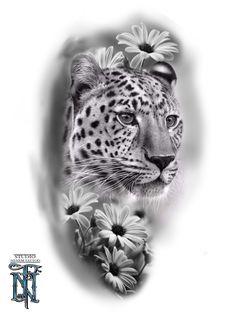 Half Sleeve Tattoo Stencils, Half Sleeve Tattoos Drawings, Half Sleeve Tattoos Designs, Body Art Tattoos, Arm Tattoos For Guys Forearm, Tiger Tattoodesign, Cheetah Tattoo, Traditional Rose Tattoos, Family Tattoo Designs