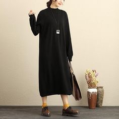 Autumn Winter Women Keep Warm Mock Turtle Neck Black Sweater Dress