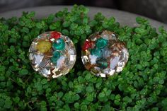 Vintage Retro Resin Seashell Confetti Earrings by samjams3 on Etsy, $14.00