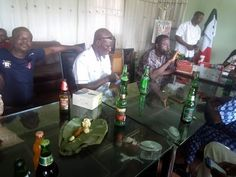 Photos: Local govt chairman in Ekiti state and his workers drink beer inside his office to celebrate Makarfis victory at the Supreme court