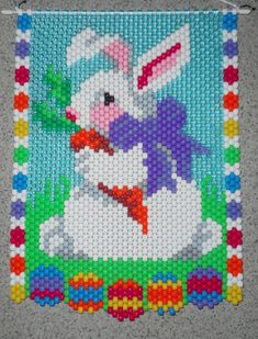 Handmade Cute Easter Bunny Beaded Banner with Nylon by wosiec1