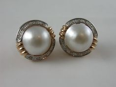 Feminine 9ct Rose #gold Mabe Pearl Stud #Earrings with #diamonds pave set in rim  Price: $1395.00