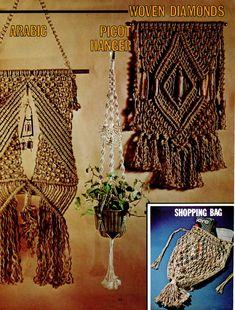 Macrame Pattern Book - French Shopping Bag + Wall Art Macrame Plant Hanger Patterns, Macrame Patterns, Sewing Patterns, Bag Patterns, Sewing Ideas, Macrame Purse, Macrame Cord, Macrame Jewelry, Jewelry Necklaces