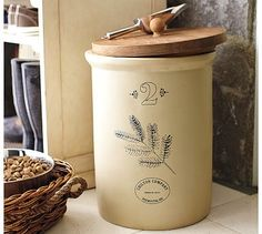 Vintage Food Storage Container with Scoop #potterybarn I have a vintage crock. I'm hoping my son can make the lid!