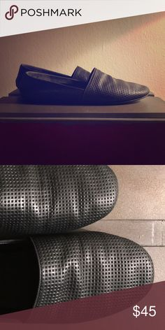 Vince Waffle Black Leathsr Slip Ons Vince Size 7 Black Leather Slip Ons in good condition. Vince Shoes Flats & Loafers