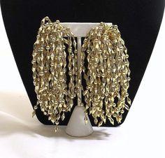 Huge Gold Bead Tassel Clip On Earrings by KatsCache on Etsy, $13.95