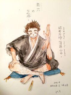 """yasumarimo: """" 助六の芝浜。Sukeroku's Shibahama. Kikuhiko / Sukeroku from Shouwa Genroku Rakugo Shinjuu. Probably one of my favourite anime this year. """""""