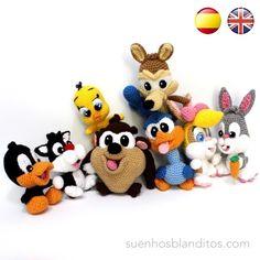 Patrones Baby Looney Tunes Crochet Patterns Amigurumi, Crochet Dolls, Crochet Yarn, Amigurumi Tutorial, Free Crochet, Yarn Animals, Crochet Animals, Bugs Bunny, Baby Looney Tunes