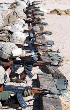 US military shooting AK47s