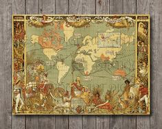 British Empire Federation 1886 World Map Vintage Print Poster Instant download Old Antique Map Wall Decor great for pillows and duvet