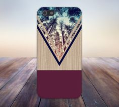 Violet Forest x Navy Chevron Wood Design Case for iPhone and Samsung