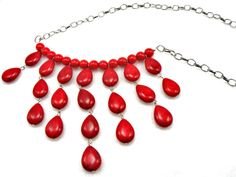 Red glass bead teardrop and silver chain by ZoilaBelleCreations, $40.00