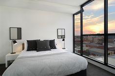 Enjoy sunsets in your own private space. #innercityliving #salvopropertygroup #precinctapartments #melbourne #propertyforsale #propertystyling