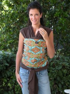 Baby Sling-ORGANIC BABY WRAP Sling Carrier-Kashmir On Brown-Our Wraps Are One Size Fits All-DvD Included on Etsy, $50.00